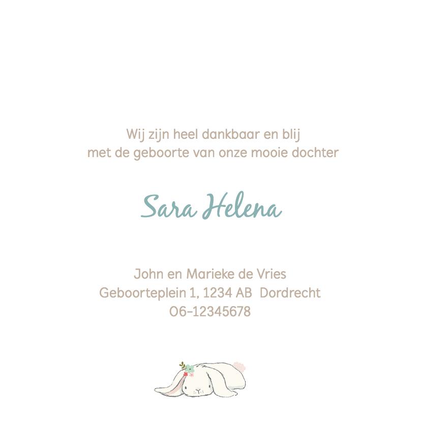 Geboortekaart meisje - konijn, ballon, bloemen 3