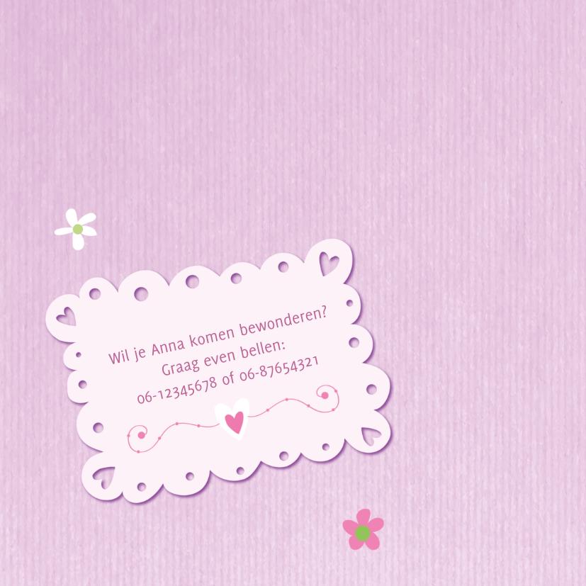 Geboortekaart meisje roze kraft 2