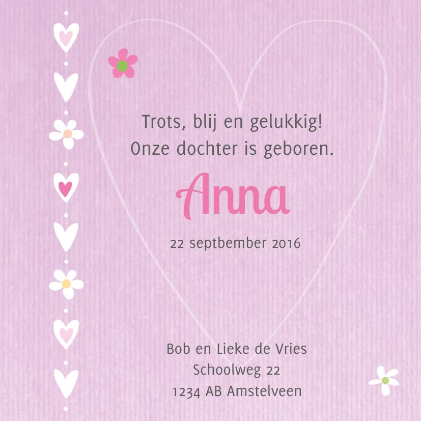Geboortekaart meisje roze kraft 3
