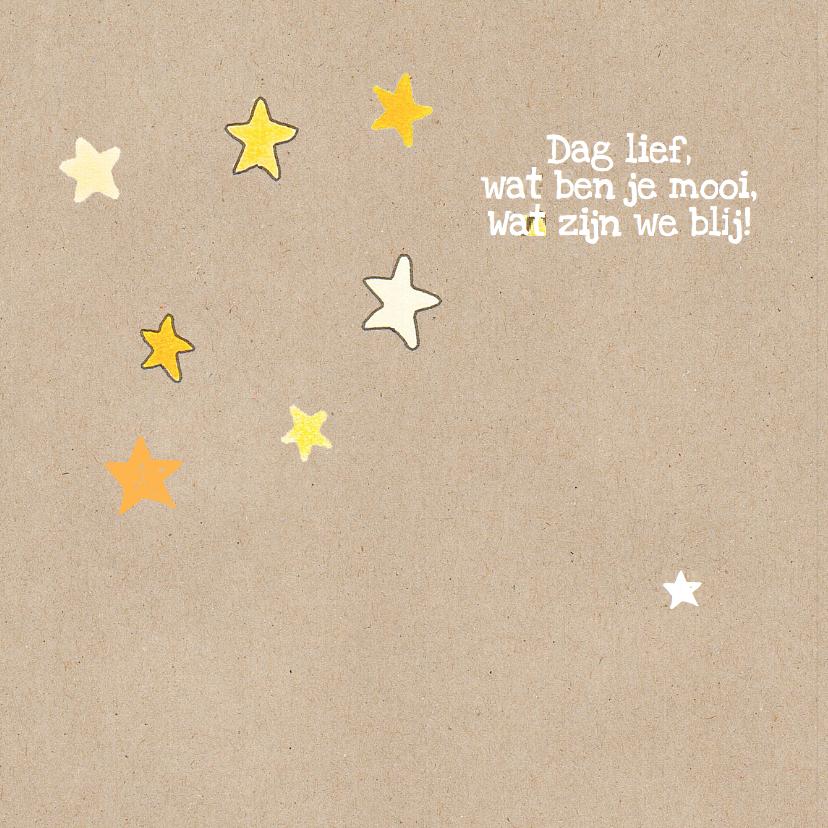 geboortekaart meisje ster, zon 2