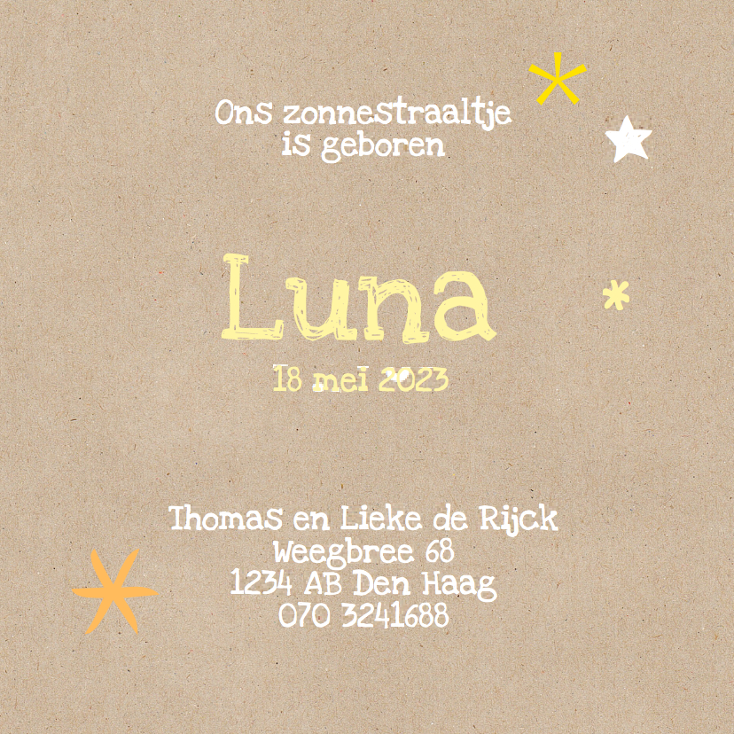 geboortekaart meisje ster, zon 3