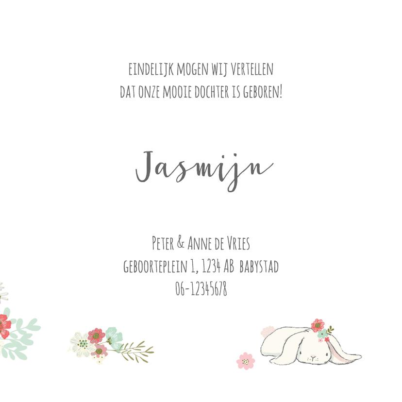 Geboortekaart meisje - theekop, konijn en bloemen 3