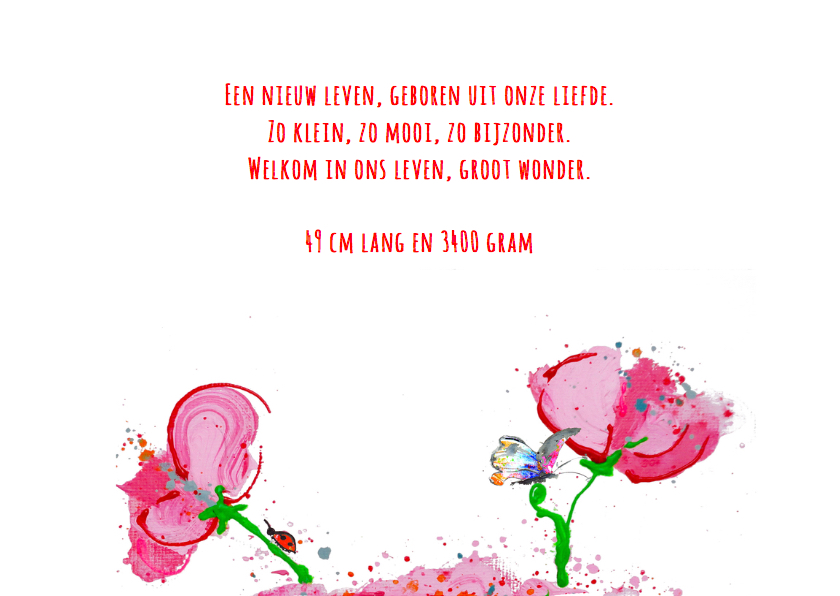 Geboortekaart met bloem en vlinder 3