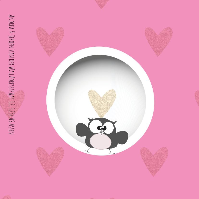 Geboortekaart met foto, cirkels en hartjes 2