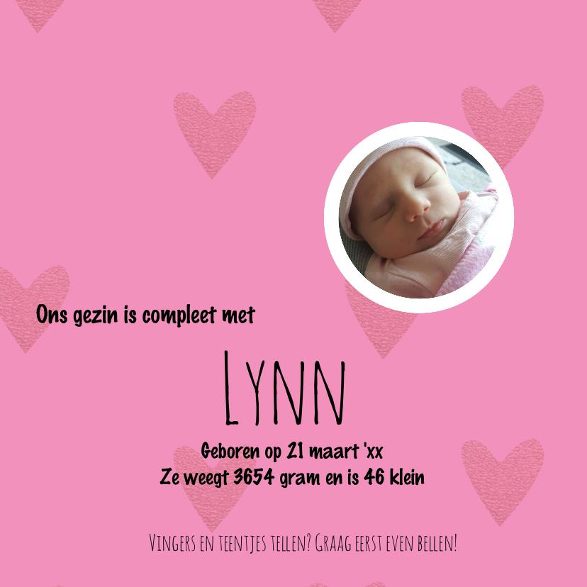 Geboortekaart met foto, cirkels en hartjes 3
