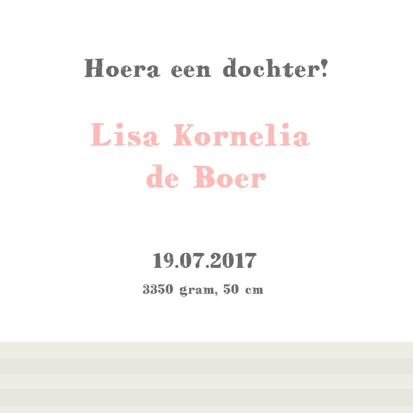 Geboortekaart met label, foto en bloemetjes 3