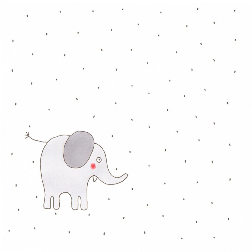 geboortekaart olifant stippen  2