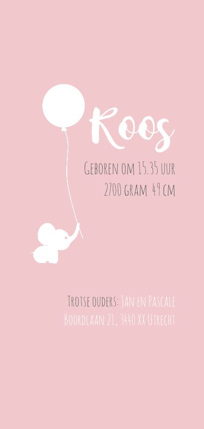 Geboortekaart Olli roze 2