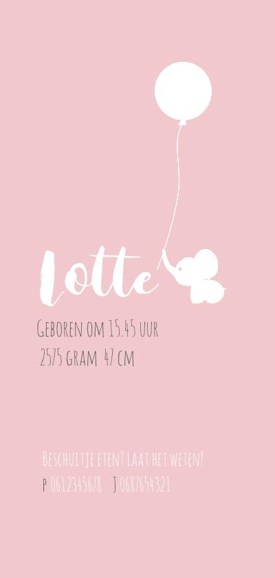 Geboortekaart Olli roze 3