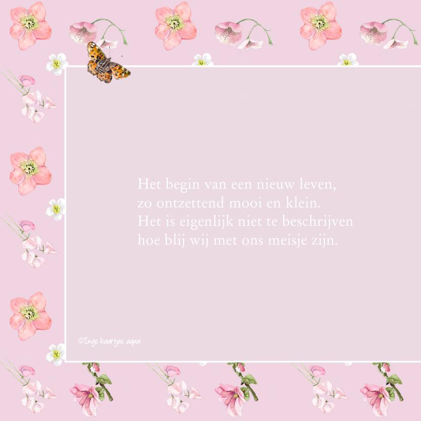 Geboortekaart  Roze bloemen vlinder 2