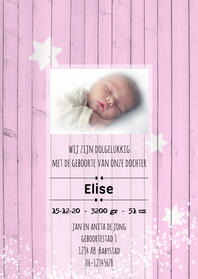 Geboortekaartjes - Geboortekaart roze hout-meisje