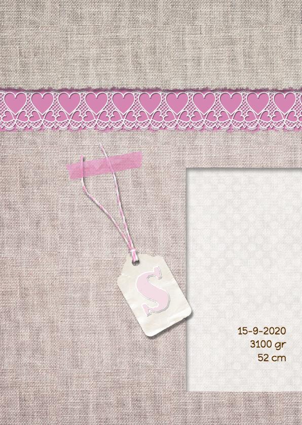 Geboortekaart roze linnen+label 2