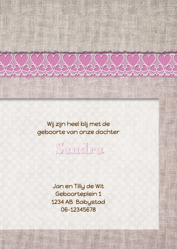 Geboortekaart roze linnen+label 3