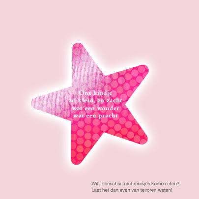 Geboortekaart roze ster 2