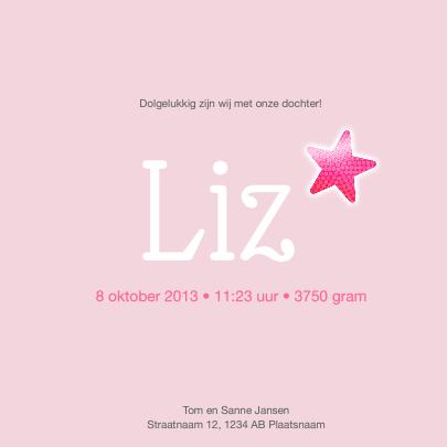 Geboortekaart roze ster 3