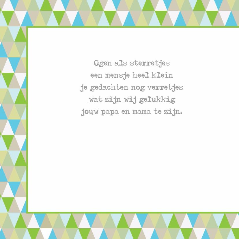 Geboortekaart ruitjes ster groen 2