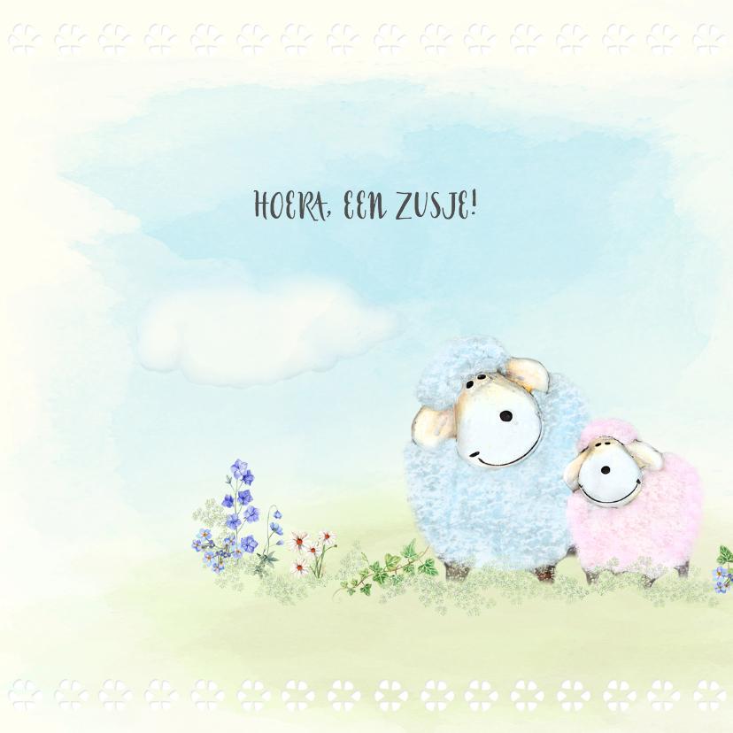 Geboortekaart schaapjes 2e kindje - zusje voor broer 2