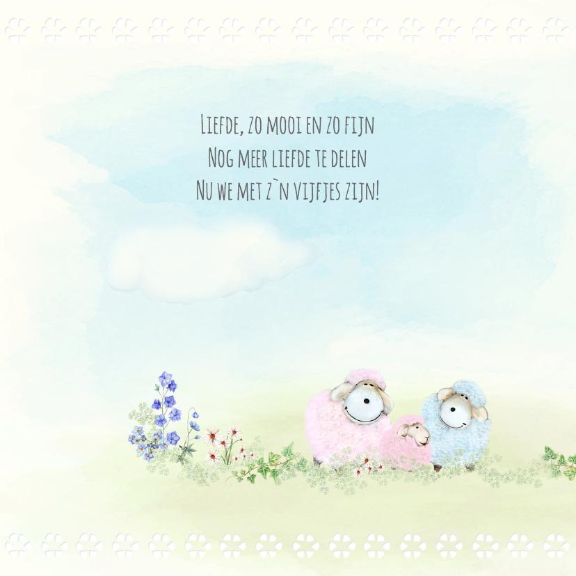 Geboortekaart schaapjes 3e kindje - zusje 2