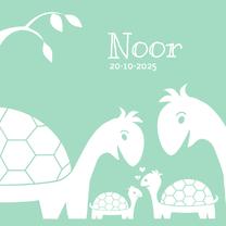 Geboortekaartjes - Geboortekaart schildpad familie