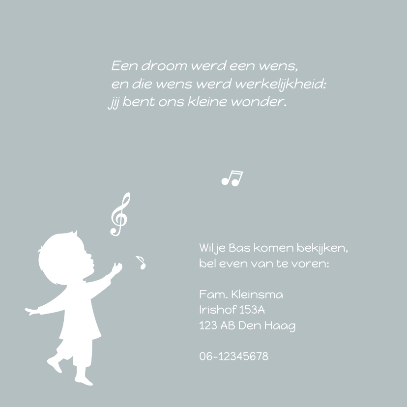 Geboortekaart Silhouet Muziek 2