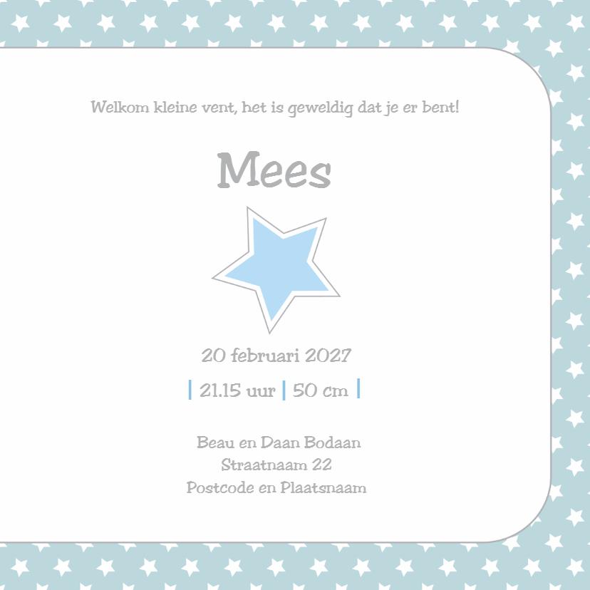 geboortekaart ster Mees 3