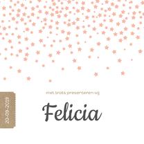 Geboortekaartjes - Geboortekaart sterrenregen roze