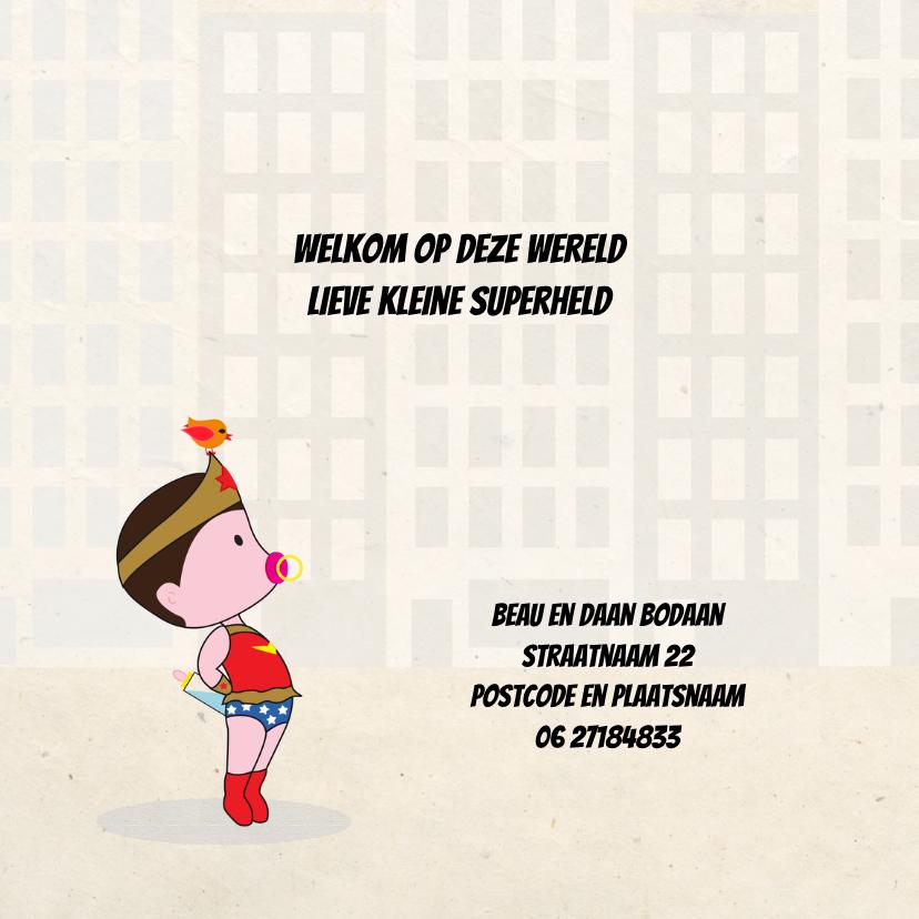 Geboortekaart superheld girl 2