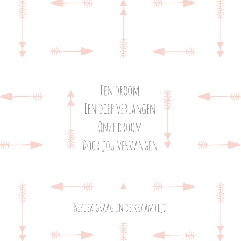 Geboortekaart tipi roze - BC 2