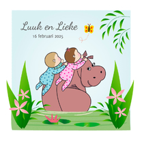Geboortekaartjes - Geboortekaart tweeling nijlpaard