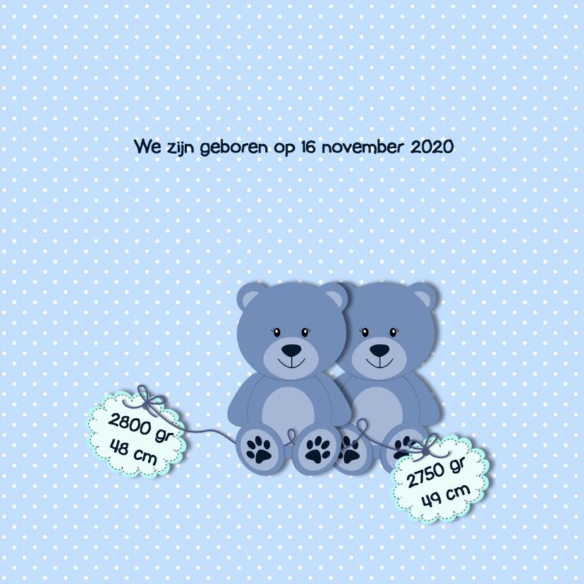Geboortekaart tweelingbeer blauw 2