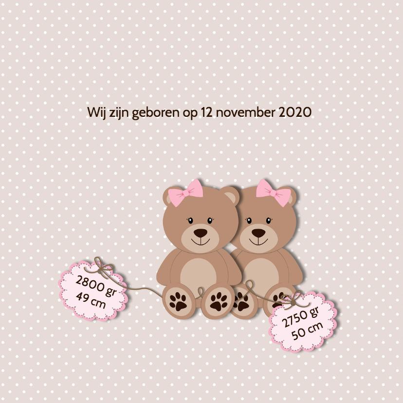 Geboortekaart tweelingberen roze 2