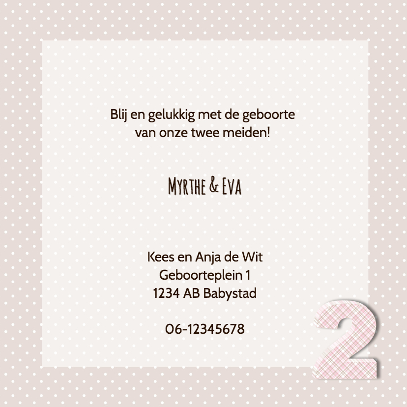Geboortekaart tweelingberen roze 3