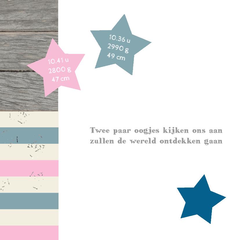Geboortekaart Twin Stars 2