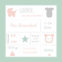 Geboortekaartjes - Geboortekaart typografie roze-BC
