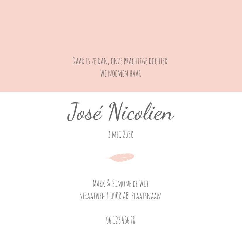 Geboortekaart veertjes roze - BC 3