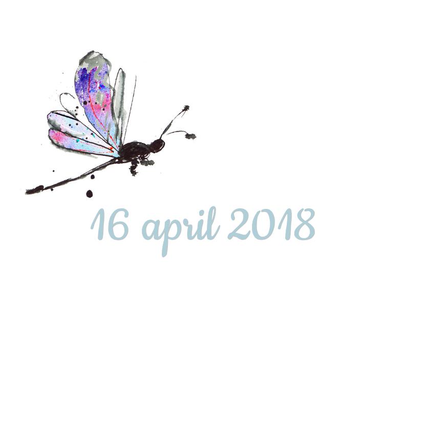 Geboortekaart vlinder libelle 2