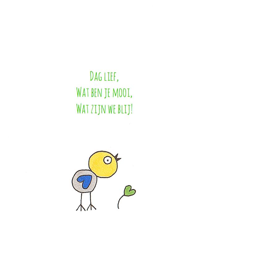 Geboortekaart vogel tak hartjes 2