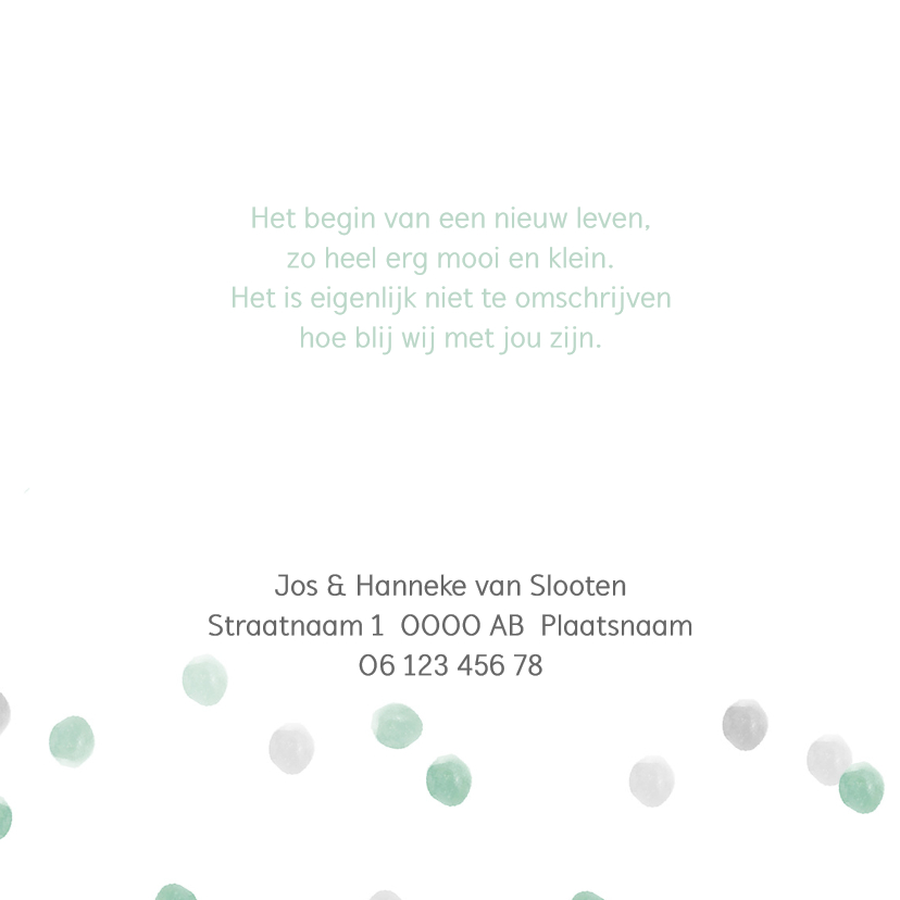 Geboortekaart waterverf stippen mint - BC 2