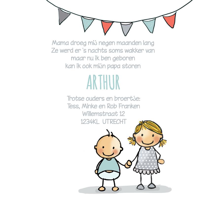 Geboortekaart zusje wagen baby j 3