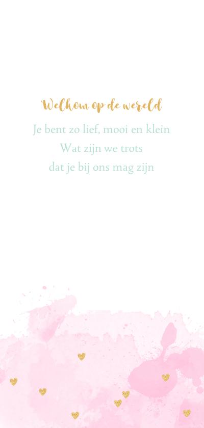 Geboortekaarte langwerpig aquarel hartjes roze  2