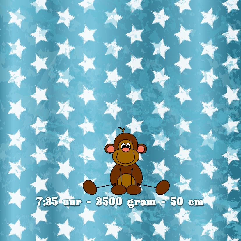 Geboortekaartje aapje aqua blauw 2