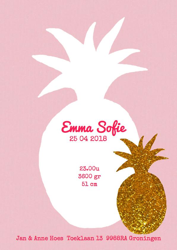 Geboortekaartje ananas goud 3