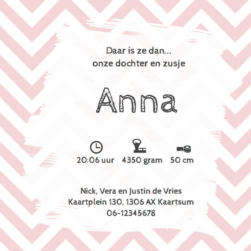 Geboortekaartje Anne chevron roze- LO 3