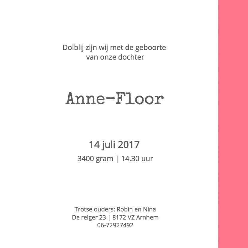 Geboortekaartje Anne-Floor 3