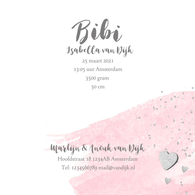 Geboortekaartje aquarel foto label hartjes roze 3