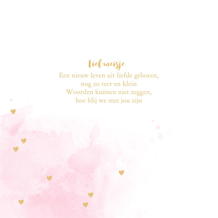 Geboortekaartje aquarel hartjes goud roze  2