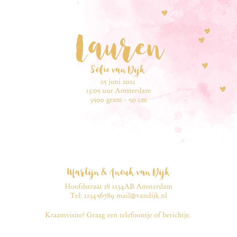 Geboortekaartje aquarel hartjes goud roze  3
