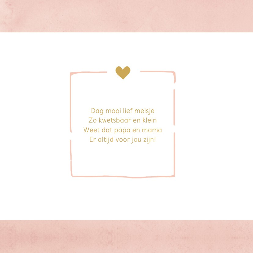 Geboortekaartje aquarel roze hartjes - BC 2
