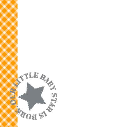 Geboortekaartje Baby Girl oranje ruitjes 2