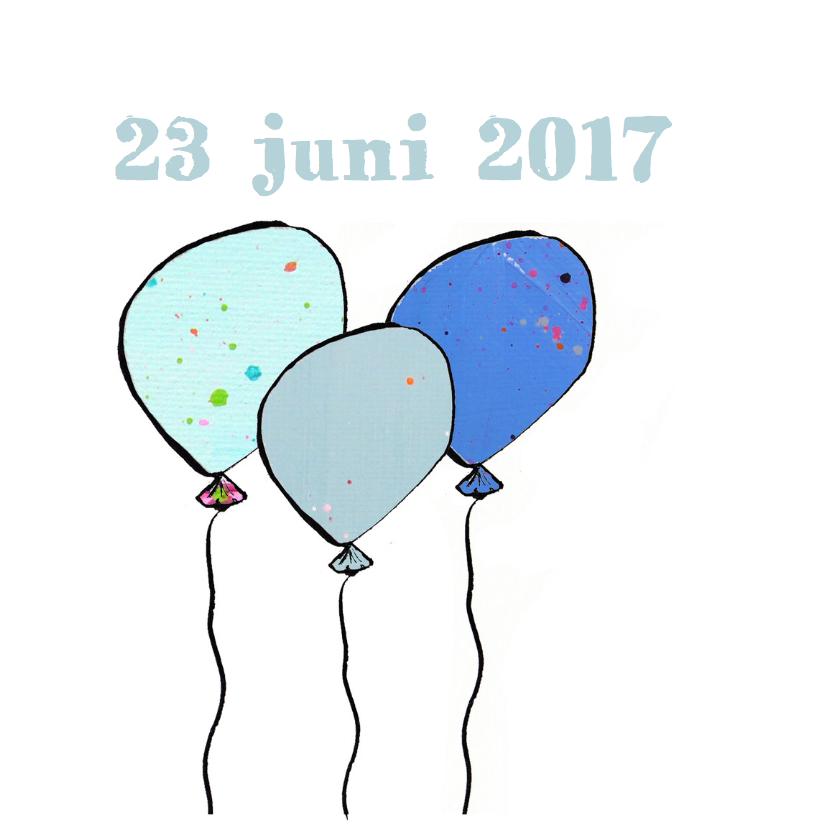 Geboortekaartje ballon hartjes 2